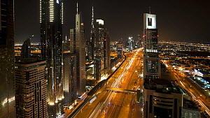 Timelapse of traffic at night on Sheikh Zayed Road, Dubai, United Arab Emirates, 2011. - Gavin Hellier