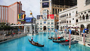 Timelapse of gondolas in the canals of the Venetian Casino and Hotel on Las Vegas Boulevard, Las Vegas, Nevada, USA, 2011. - Gavin Hellier