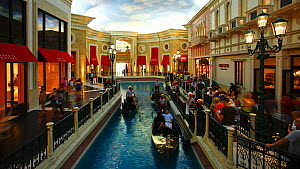 Timelapse of people boarding gondolas inside the Venetian Casino and Hotel, Las Vegas, Nevada, USA, 2011.  -  Gavin Hellier