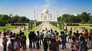 Timelapse of tourists having their photographs taken in front of the Taj Mahal, Taj Mahal UNESCO World Heritage Site, Agra, Uttar Pradesh, India, 2011.  -  Gavin Hellier