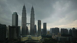 Timelapse of clouds swirling around the Petronas Twin Towers, Kuala Lumpur, Malaysia, 2011. - Gavin Hellier