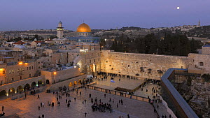 Timelapse from day to night of people praying at the Wailing Wall, with the Dome of the Rock illuminated in the background, Temple Mount, Jerusalem, Israel, 2011.  -  Gavin Hellier