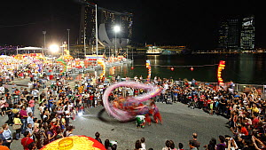 Timelapse of River Hongbao decorations and dancing display for Chinese New Year celebrations, Marina Bay, Singapore, 2011.  -  Gavin Hellier