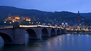 Timelapse from day to night of lights coming on on Heidelberg Castle and on the Old Bridge over the River Neckar, Heidelberg, Baden-Wurttemberg, Germany, 2011.  -  Gavin Hellier
