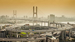 Timelapse of traffic on the Nanpu Bridge spiral, Shanghai, China, 2011.  -  Gavin Hellier