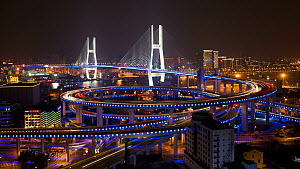 Timelapse of traffic on the Nanpu Bridge spiral at night, Shanghai, China, 2011.  -  Gavin Hellier