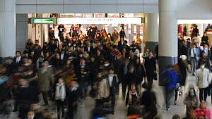 Timelapse of commuters walking through Shibuya Station at rush hour, Shibuya, Tokyo, Honshu, Japan, 2011. - Gavin Hellier