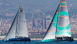 TP52s 'Azzurra' and 'Quantum Racing' racing in the Conde de Godo Sailing Trophy, Barcelona, Spain, May 2013. All non-editorial uses must be cleared individually. - Jesus Renedo