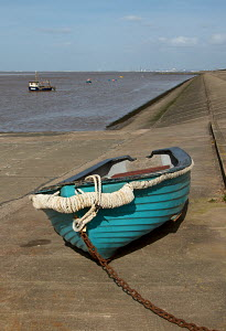 Small boat on dry land, Meols, Wirral, Merseyside, England UK. April 2013. - Norma Brazendale