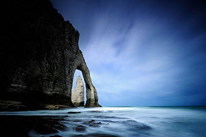 Landscape view of the Manneporte, a natural rock arch and needle, Etretat, Normandy, France, June - Benjamin Barthelemy,Benjamin  Barthelemy
