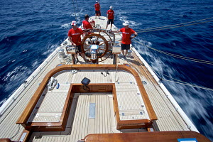 Helming on board J-Class replica 'Ranger' during training for the Superyacht Cup, Palma, Majorca, Spain, June 2013. All non-editorial uses must be cleared individually. - Jesus Renedo