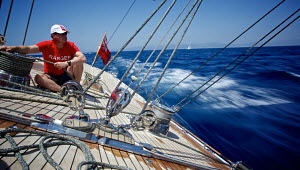 Crew member trimming on board J-Class replica 'Ranger' during training for the Superyacht Cup, Palma, Majorca, Spain, June 2013. All non-editorial uses must be cleared individually. - Jesus Renedo