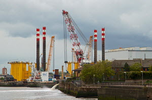 Cammel Laird ship repairers, Seen from Woodside, Birkenhead, Merseyside, England UK. May 2013. - Norma Brazendale