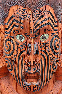 Maori head  wood carving. New Zealand. - Brandon Cole