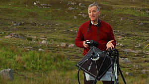 Photographer Niall Benvie using and talking about his portable field studio set up whilst on assignment for 2020vision, Coigach / Assynt Scottish Wildlife Trust Reserve, Sutherland, Highlands, Scotlan...  -  Raymond  Besant / 2020VISION