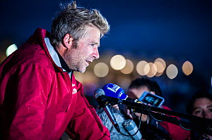 Skipper Yann Elies after winning la Solitaire du Figaro on board 'Groupe Queguiner-Leucemie Espoir'. Dieppe, France, June 22nd 2013. All non-editorial uses must be cleared individually. - Benoit Stichelbaut