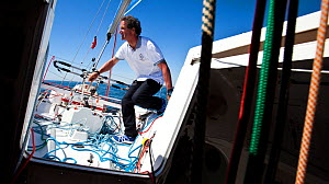 Skipper Michel Desjoyeaux on board Figaro 'TBS' ahead of la Solitaire du Figaro, Port la Foret, France, April 2013. All non-editorial uses must be cleared individually. - Benoit Stichelbaut