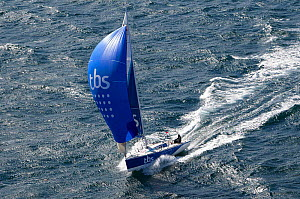 Aerial view of Figaro 'TBS' skippered by Michel Desjoyeaux in training for la Solitaire du Figaro, Port la Foret, France, April 2013. All non-editorial uses must be cleared individually. - Benoit Stichelbaut