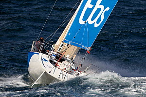 Figaro 'TBS' skippered by Michel Desjoyeaux in choppy conditions during training for la Solitaire du Figaro, Port la Foret, France, April 2013. All non-editorial uses must be cleared individually. - Benoit Stichelbaut