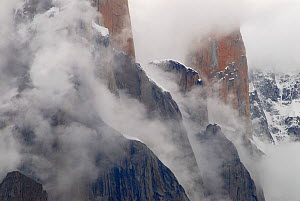 Trango Towers, with the Nameless Tower (6,239m) in the background, seem from the Baltoro Glacier, Central Karakoram National Park, Pakistan, July 2007.  -  Enrique Lopez-Tapia,Enrique Lopez-Tapia