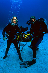 Presenter Mike De Gruy and Cameraman Bob Cranston on BBC filming assignment for 'Live From The Abyss' Cocos Island 2003 - Michael Pitts,Michael Pitts