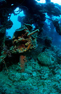 Engine room telegraph on the bridge of the wreck of the tanker 'Shinkoko Maru' Chuuk Lagoon, Federated States of Micronesia - Michael Pitts
