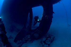 Wreck of the cargo ship 'Iouna'. Diver and ships single screw propellor. Wrecked between 1912-1918. Sharmo reef, Yanbu, Saudi Arabia, July 2010  -  Michael Pitts