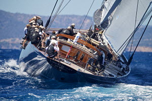 J-Class yacht 'Lionheart' heeling on the first day of the Superyacht Cup, Palma, Majorca, Spain, June 2013. All non-editorial uses must be cleared individually.  -  Jesus Renedo