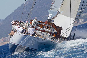 J-Class yacht 'Ranger' heeling on the first day of the Superyacht Cup, Palma, Majorca, Spain, June 2013. All non-editorial uses must be cleared individually.  -  Jesus Renedo