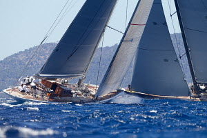 J-Class yacht 'Ranger' racing on the first day of the Superyacht Cup, Palma, Majorca, Spain, June 2013. All non-editorial uses must be cleared individually.  -  Jesus Renedo