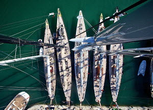 Aerial view of J-class yachts 'Ranger', 'Rainbow', 'Lionheart', 'Velsheda' and 'Hanuman' moored during the Superyacht Cup, Palma, Majorca, Spain, June 2013. All non-editorial uses must be cleared indi... - Jesus Renedo