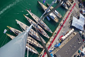 Aerial view of J-class yachts moored during the Superyacht Cup, Palma, Majorca, Spain, June 2013. All non-editorial uses must be cleared individually. - Jesus Renedo