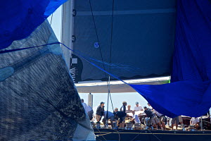 Torn spinnaker on board J-class yacht 'Velsheda' on the first day of the Superyacht Cup, Palma, Majorca, Spain, June 2013. All non-editorial uses must be cleared individually.  -  Jesus Renedo