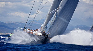 Sail work on board J-class yacht 'Hanuman' on the first day of the Superyacht Cup, Palma, Majorca, Spain, June 2013. All non-editorial uses must be cleared individually.  -  Jesus Renedo