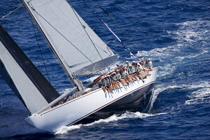 Crew hiking-out on board J-class yacht 'Ranger' on the second day of the Superyacht Cup, Palma, Majorca, Spain, June 2013. All non-editorial uses must be cleared individually.  -  Jesus Renedo