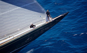 Crew on the bow of J-class yacht 'Hanuman' on the second day of the Superyacht Cup, Palma, Majorca, Spain, June 2013. All non-editorial uses must be cleared individually.  -  Jesus Renedo