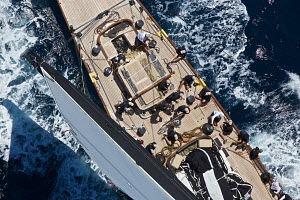 Aerial view of crew on board J-class yacht 'Lionheart' on the second day of the Superyacht Cup, Palma, Majorca, Spain, June 2013. All non-editorial uses must be cleared individually. - Jesus Renedo