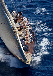 Crew hiking-out on board J-class yacht 'Velsheda' on the second day of the Superyacht Cup, Palma, Majorca, Spain, June 2013. All non-editorial uses must be cleared individually.  -  Jesus Renedo