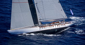 Aerial view of crew hiking-out on board J-class yacht 'Ranger' on the second day of the Superyacht Cup, Palma, Majorca, Spain, June 2013. All non-editorial uses must be cleared individually.  -  Jesus Renedo