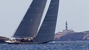 J-class yacht 'Hanuman' sailing close to the coast on the third day of the Superyacht Cup, Palma, Majorca, Spain, June 2013. All non-editorial uses must be cleared individually.  -  Jesus Renedo