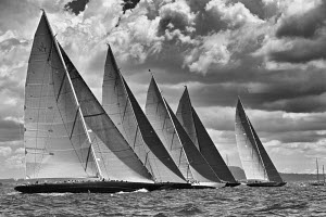 Black and white image of J-class fleet startline on the fourth day of the Superyacht Cup, Palma, Majorca, Spain, June 2013. All non-editorial uses must be cleared individually.  -  Jesus Renedo
