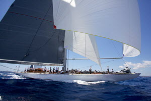 J-class yacht 'Ranger' under spinnaker on the fourth day of the Superyacht Cup, Palma, Majorca, Spain, June 2013. All non-editorial uses must be cleared individually.  -  Jesus Renedo