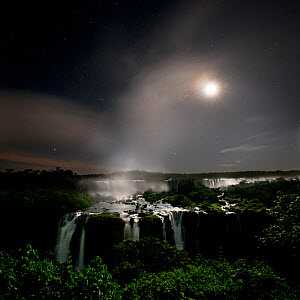 Iguasu Falls by moonlight, on the Iguasu River, Brazil / Argentina border. Photographed from the Brazilian side of the Falls. State of Parana, Brazil. - Nick Garbutt