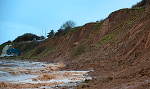 Coastal erosion of  Glacial boulder clay cliffs during spring tides, Thurstaston, Wirral, June 2012 - Graham Eaton