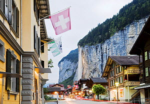 View of Lauterbrunnen village and waterfall, Bernese Oberland, Switzerland, June 2012. - Merryn  Thomas