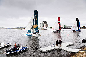 Catamarans taking part in the Extreme 40 catamaran racing series in Cardiff Bay, Cardiff, Wales, UK, September 2012.  -  Merryn Thomas,Merryn  Thomas