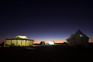 View of a BBC filming camp at night, on location for the Sahara episode of the 'Africa' series, Egypt, September 2011. - Felicity Lanchester,Felicity  Lanchester