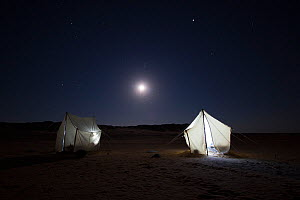 View of a BBC filming camp at night, on location for the Sahara episode of the 'Africa' series, Egypt, September 2011.  -  Felicity Lanchester