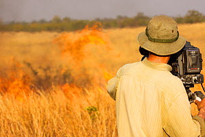 Cameraman Mark Smith filming a grassland fire for the BBC series 'Africa', South Luangwa National Park, Zambia, June 2011.  -  Felicity Lanchester