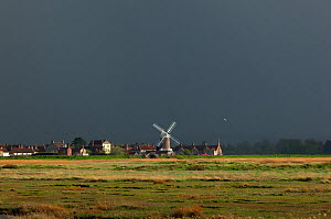 Cley Mill and marshes in thunder storm, Norfolk, May 2013  -  Ernie  Janes